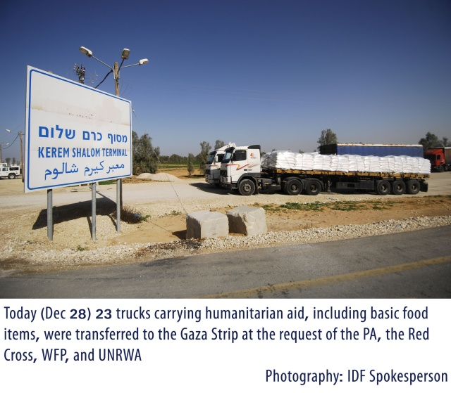 23 Trucks of Humanitarian Aid Transferred into Gaza