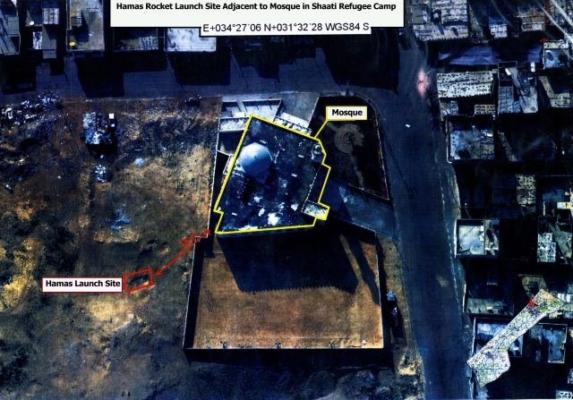 Hamas rocket launching site located adjacent to a mosque in the Shaati Refugee Camp.