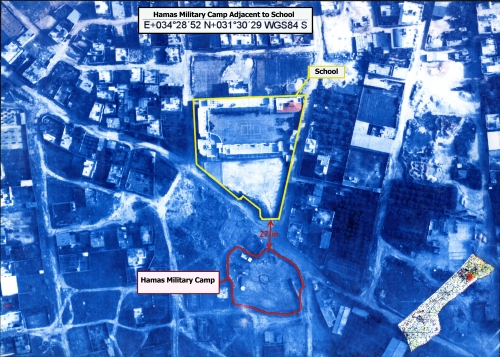 Hamas military camp adjacent to school in the northern Gaza Strip.