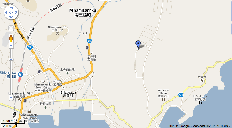 Close up of the location of the IDF field hospital in Japan