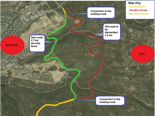 Map outlining the new security fence route bordering the Palestinian village of Bil'in