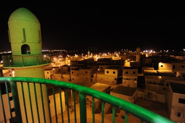 Panoramic night-view of the Urban Warfare Training Center, IDF, Hamas, Gaza