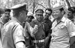 Chief of staff Yitzhak Rabin talking to soldiers in the field during the Six day war  (source: GPO)