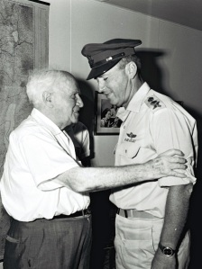 Mr. David Ben Gurion Recieving the Chief of Staff Yitzhak Rabin who Came to Congratulate him on his 80th Birthday (source:GPO)