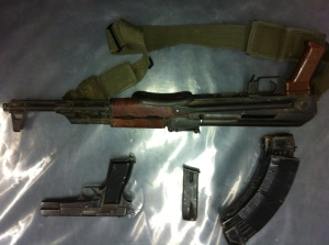 An AK-47, a pistol and a sharp object used for cutting were found in a search conducted in the area after the incident