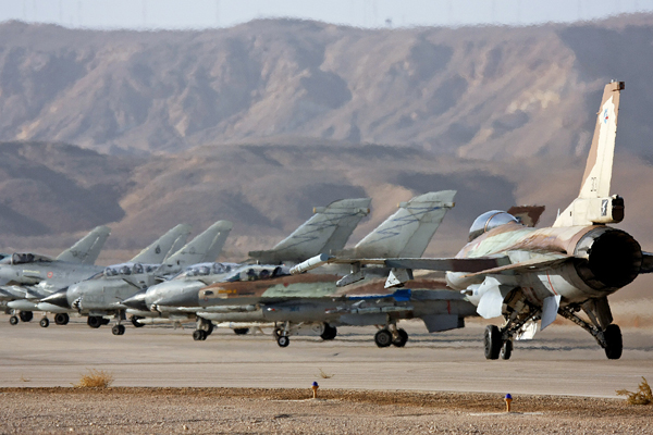 "Israeli ""F-16"" Planes alongside Italian ""Eurofighter"" and ""Tornado"" Aircrafts"