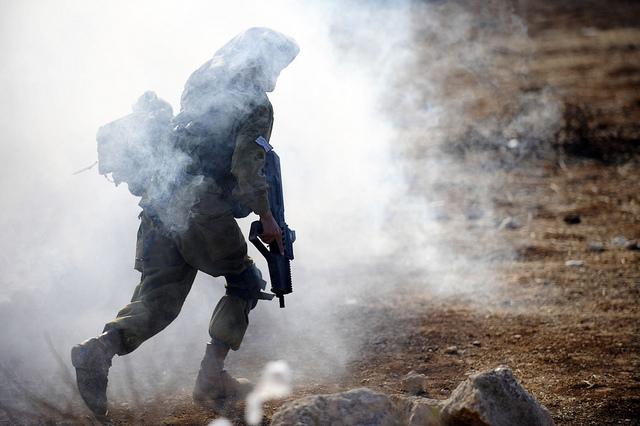 Desert Reconnaissance Battalion's Soldier Takes Position