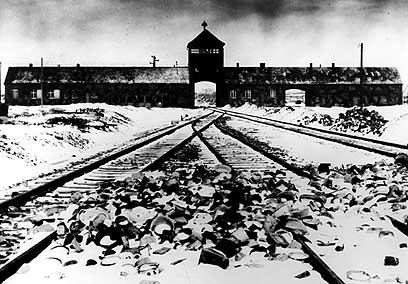 Railway leading to the death camp Auschwitz-Birkenau